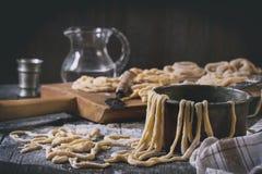 Fresh homemade pasta pici Royalty Free Stock Photos