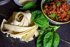 Fresh Homemade Pasta raw food beautiful cooking flat lay royalty free stock photography