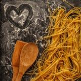 Fresh homemade pasta, spaghetti. Royalty Free Stock Photo