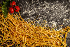 Fresh homemade pasta, spaghetti. Royalty Free Stock Photos