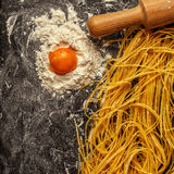 Fresh homemade pasta, spaghetti. Royalty Free Stock Photography