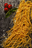 Fresh homemade pasta, spaghetti. Royalty Free Stock Images
