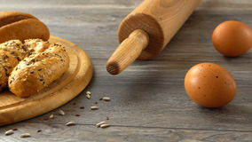 Fresh homemade pastry, eggs, and flour. Rustic wooden table. Natural and healthy eating. stock footage