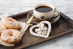 Fresh homemade pastry on old metal tray with coffee Royalty Free Stock Image