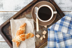 Fresh homemade pastry on old metal tray with coffee Royalty Free Stock Photos