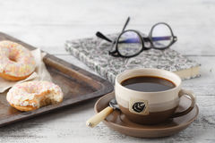 Fresh homemade pastry on old metal tray with coffee Stock Photo