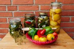 Fresh homemade pickles preserved vegetables Stock Photos