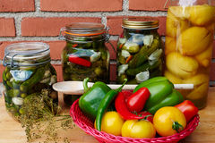 Fresh homemade pickles preserved vegetables Stock Photos