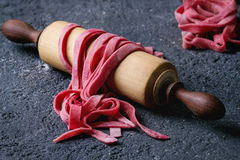 Fresh homemade pink pasta tagliatelle Stock Photography