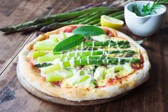 Fresh Homemade Pizza Asparagus Stock Image