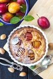 Fresh homemade plum frangipane tart Stock Photos