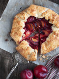 Fresh homemade plum galette Stock Images