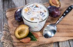 Fresh homemade Plum Yogurt Royalty Free Stock Image