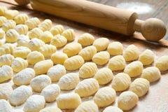 Fresh homemade potato gnocchi ready. For cooking Royalty Free Stock Photo
