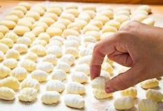 Fresh homemade potato gnocchi. Ready for cooking Royalty Free Stock Photos