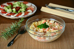 Fresh Homemade Potato Salad with Eggs and Carrots On Glass Bowl Stock Images