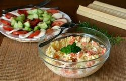 Fresh Homemade Potato Salad with Eggs and Carrots On Glass Bowl Stock Photos