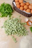 Fresh homemade potato spinach gnocchi Royalty Free Stock Images