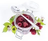 Fresh homemade Raspberry Jam. Isolated on white Stock Photo