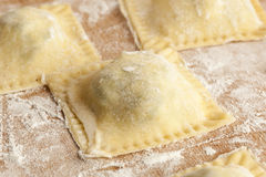 Fresh Homemade Ravioli. Against a back ground Royalty Free Stock Photos