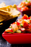 Fresh homemade salsa. With vegetables and chips nachos. Selective focus Stock Photography