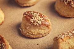 Fresh homemade salty scones with cheese and sesame Royalty Free Stock Images