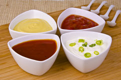 Fresh homemade sauces Stock Images