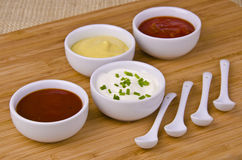 Fresh homemade sauces Royalty Free Stock Images