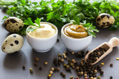 Fresh homemade sauces yellow mustard and white mayonnaise Stock Photography