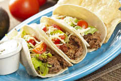Fresh Homemade Shredded Beef Tacos Stock Image