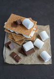 Fresh homemade smores with marshmallows, chocolate and graham crackers Stock Photo