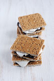 Fresh homemade smores with marshmallows, chocolate and graham crackers Royalty Free Stock Image