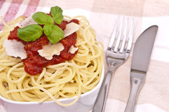 Fresh homemade spaghetti Stock Photos