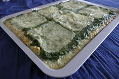 Fresh homemade spinach cake with cheese Stock Photos