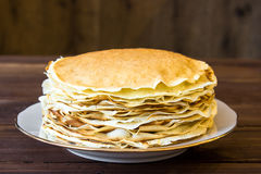 Fresh homemade stack of crepes Royalty Free Stock Image