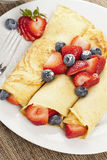 Fresh Homemade Strawberry Crepes Stock Image