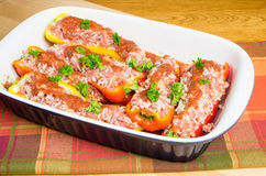 Fresh stuffed peppers in pan ready to bake Royalty Free Stock Photography