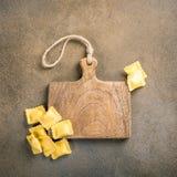 Fresh homemade stuffed square pasta ravioli royalty free stock image