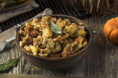 Fresh Homemade Thanksgiving Turkey Stuffing. Ready to Eat royalty free stock photography