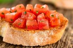 Tomato and Basil Bruschetta royalty free stock image
