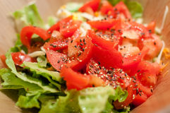 Fresh homemade tomato and lettuce salad Royalty Free Stock Photography