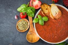 Fresh homemade tomato soup in the bowl on stone background