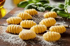 Fresh homemade uncooked gnocchi dumplings Royalty Free Stock Photography