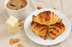 Fresh homemade unfilled croissants for breakfast Royalty Free Stock Photos