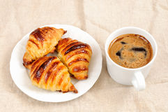 Fresh homemade unfilled croissants for breakfast Stock Photography