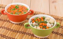 Fresh homemade vegetable soups. Stock Images