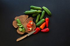 Fresh homemade vegetables cucumber tomato pepper on black backgr. Fresh homemade green cucumber and red tomato and orange pepper on wooden plate cut with knife Stock Image