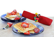 Fresh homemade waffles with strawberries Royalty Free Stock Photo