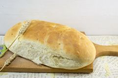 Fresh hommade bread on a cutting board Stock Photography