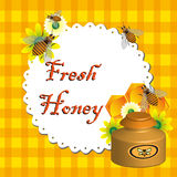 Fresh honey. Abstract colorful illustration with bees flying over a table cover, flowers, honey jar and the text fresh honey written on a napkin with orange Royalty Free Stock Photos